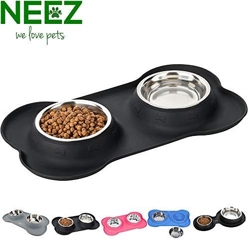 NEEZ Napfset Katzennapf Fressnapf Napf mit Unterlage für Katzen und Kleine Hunde (M, Schwarz)