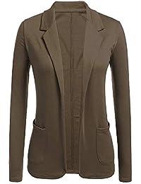 7e4ad789b Chaqueta de Traje Mujer Slim Fit Color Sólido Elegante Manga Larga Oficina  Negocios Blazer Cardigan Outwear