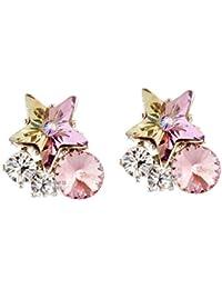 Mahi Valentine Gift With Swarovski Crystal Multicolor Sparkling Star Earrings For Women And Girls ER1104402R