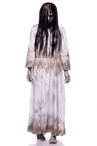 Kostüm Filme Horror - Samara Horror Film Kostüm Damen Halloween Ring TV Set Grau Kleid Perücke 34-46