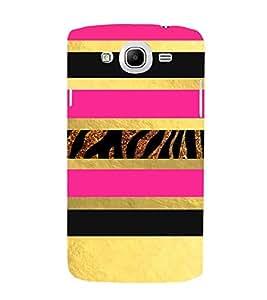 PrintVisa Gold & Pink Animal Pattern 3D Hard Polycarbonate Designer Back Case Cover for Samsung Galaxy Mega 5.8