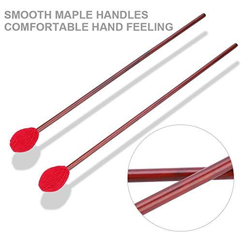 Bacchette per Marimba con Manico In Legno Testa di Media Durezza del Filato per Strumento Percussione Rosso