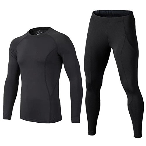 Kinder Langarm Core Base Layer Junior Kompressionsshirt + Kompressionshose für Trainings Fitness Running Fußballtraining Radsport, Farbe schwarz, Size 24 (Jungen-rugby)