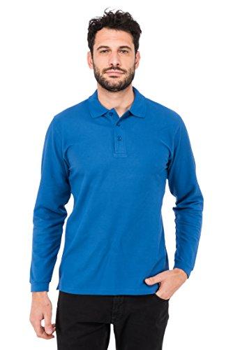 Fruit of the Loom Herren Poloshirt Polo Premium Manica lunga Blau (Blue 51)