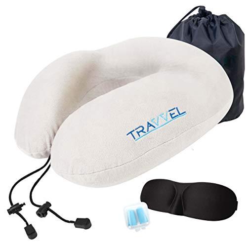 Nackenkissen Nackenhörnchen für Reisen von TRAVVEL® | Memory Foam Nackenrolle | Reisekissen Set inkl. Tasche, Schlafmaske & Ohrstöpsel
