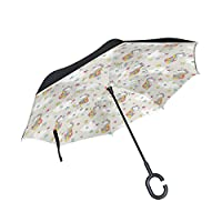 COOSUN Colored Unicorn With Stars Pattern Double Layer Inverted Umbrella Reverse Umbrella for Car and Outdoor Use Rain Windproof Waterproof UV Protection Big Straight Umbrella With C-Shaped Handle