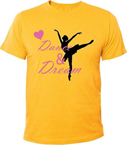 Mister Merchandise Herren Men T-Shirt Dance & Dream Tee Shirt bedruckt Gelb