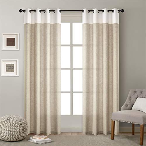 X-Labor Voile Vorhang Leinen Stoff Gardinen mit Ösen Dekoschal für Wohnzimmer Schlafzimmer Fenster 1er-Pack Beige 132x225cm -