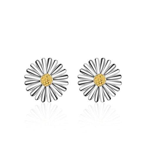 Wunhope Ohrringe Damen Mädchen 925er Sterling Silber Daisy Blumen Kleine Frische (Prinzessin Halloween Daisy)