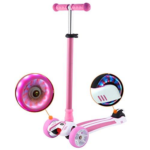 WeSkate Kinderroller Kinderscooter Dreiradscooter mit PU LED Leuchten Räder und 3 Stufen Einstellbare Höhe Doppel-Hinterrad Big Wheel für Kinder 3-12 Jahre alt -