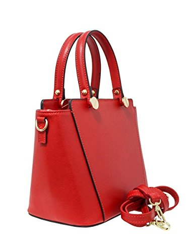 Borse a Mano Donna Savoy in Vera Pelle, Made in Italy Rosso