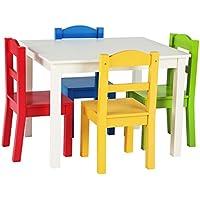 Tot tutoren Kinder Holz Set Tisch und 4Stühle, Espresso (Espresso Collection) Kids White/Primary - preisvergleich