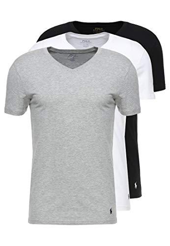 Polo Ralph Lauren 3er Pack Herren T-Shirts, V-Neck, Halbarm - Weiß/Grau/Schwarz: Größe: XXL (Gr. XX-Large)