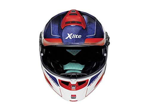 X-Lite X-1004 ULTRA CHARISMA CARBON TINTO BLUE GLOSSY WHITE CHIN GUARD M