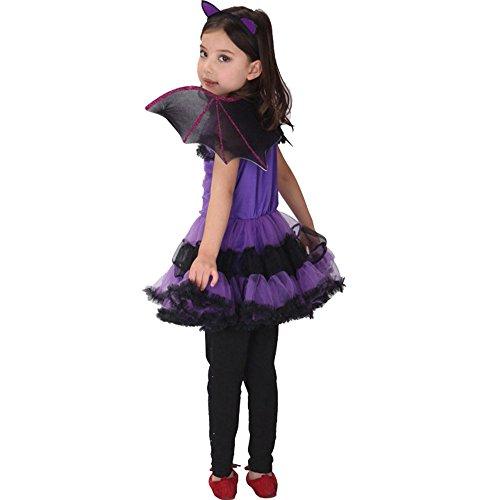 TiaoBug Filles 3pcs Déguisement Halloween Carnaval Tutu Robe Chauve-Souris Violet Robe de Sorcière Cospaly Costumes avec Serre-tête et Aileet 4-8 Ans (7-8 Ans)