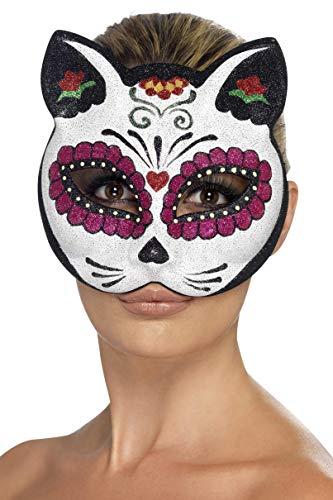 Smiffys Damen Zuckerschädel Katzen Augenmaske, One Size, Mehrfarbig, - Sugar Skull Kid Kostüm