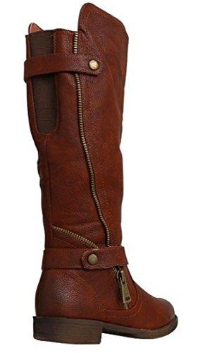 Manfield Biker Bottes d'équitation Panneau texturé Bottes d'équitation marron