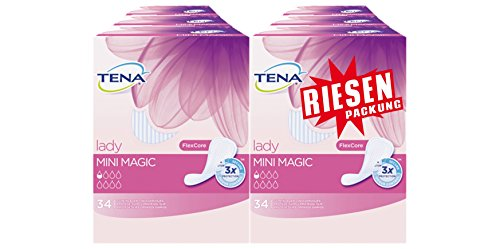 Tena Lady Mini Magic Einlagen, Riesenpackung (6 Packungen je 34 Einlagen) - Womens Magic