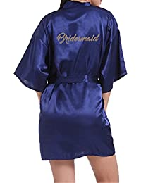 WPFING Bride Robes Satin Bridesmaid Robes Personalised for Bridal Party  Glitter 1a9390569