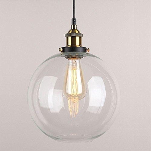 Huahan Haituo Pendelleuchte Light Vintage industriellen Metall-Finish Klarglas Glaskugel Runde Schatten Loft Pendelleuchte Lampe Retro Decke Licht Vintage Lamp(Durchsichtig,25CM)