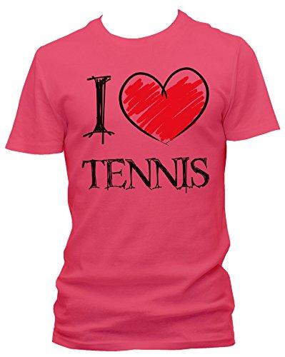 NEON Herren T-Shirt I love Tennis FUN NEON , Größe:L;Farbe:neon pink (Schläger Agassi Tennis)