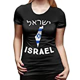 MASKMAN T-Shirt Manches Courtes à Manches Courtes pour Femmes en Israël - Design Pays(XXL,Noir)