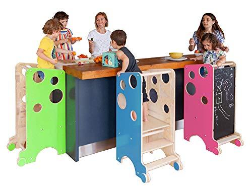 Leea Spielturm, Lernturm. Hocker, Tisch, Hochstuhl, Rutsche, Kreidetafel, Magnettafel (ROT)