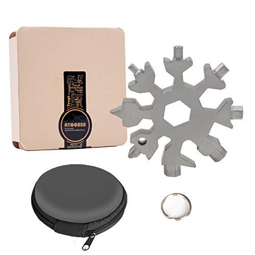 ATOOBSR Schneeflocke Multitool 18-in-1 Schraubendreher Flaschenöffner Edelstahl Multifunktionswerkzeug für Outdoor-Abent EDC Werkzeuge (MEHRWEG)