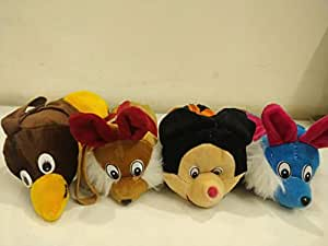Jiada Animal Shape Pencil Pouch Soft Material | Birthday Return Gift | Set of 5 - Assorted Colours