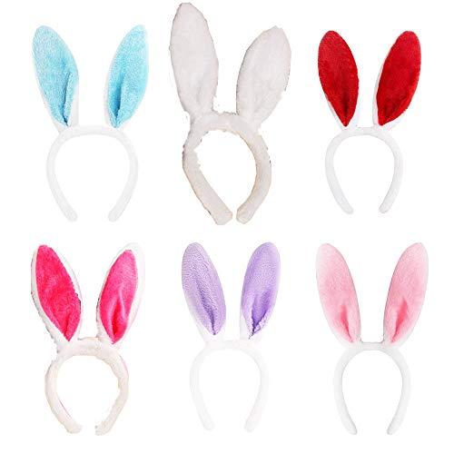 Bunny Kostüm Einfach - 6 stücke Bunny Ohren Kaninchen Stirnband Kindertag Kaninchen Form Kopfschmuck Leistung Requisiten Bunny Girl Plüsch Kaninchen Ohr Stirnband für Ostern Kostüm Party Dress Up