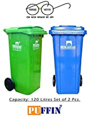 PUFFIN 120 Ltr Wheel Garbage Dustbin Waste Trash Bucket Dustbin With Lid And Strong Wheels (Pack of 2) Blue/Green