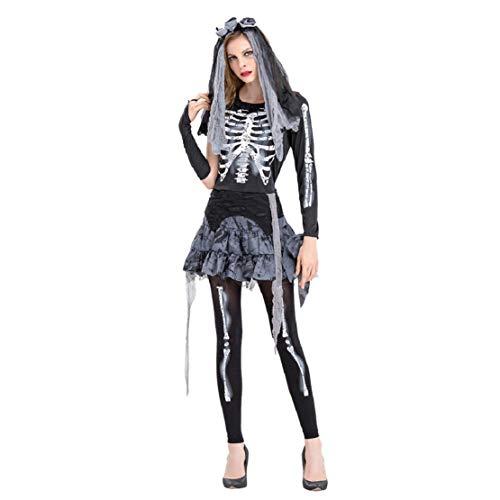 Braut Bis Prinzessin Kostüm Kleid - Bluelucon Damen Zombie Braut Halloween kostüm Leiche Vampir Gruseliger Effekt Kleid Cosplay Dress Kleid Passt Set Zombie Ghost Kleid Gespenst Braut
