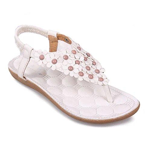 Dayiss Damen Römersandalen flach Blumen T-Straps Sandalen Urlaub  Strandschuhe Sommer Schuhe Weiß 9da533a097