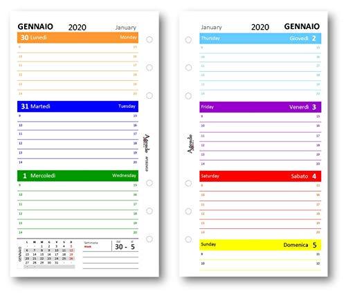Ricambio agenda 2020 settimanale COLORS 9,5 x 17 bilingua (carta 90 gr) in 7 colori ricambio agenda organizer