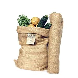 418nmsQXt0L. SS300  - Sacos Grandes de Yute 100% Natural - Pack 2 Bolsas Ecológicas. Organizador Rústico, 58x42 cm