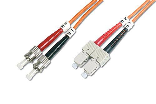 DIGITUS LWL Patch-Kabel OM2 - 1 m ST auf SC Glasfaser-Kabel - LSZH - Duplex Multimode 50/125µ - 10 GBit/s - Orange -