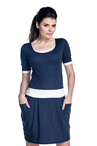 Zeta Ville - Lagenkleid Seitentaschen Kontrastdetails Stillzeit - Damen - 698c (Marine, EU 38/40, L) (Kleid Anlass Kontrast)