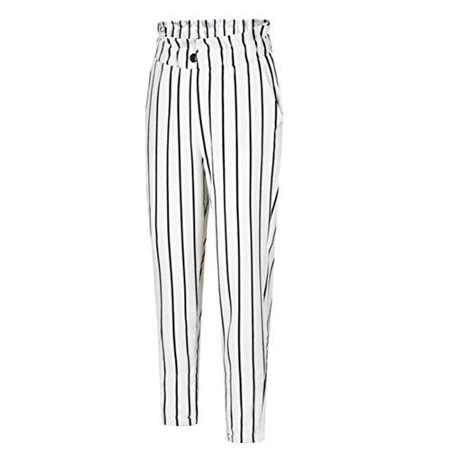 UFACE Damen gestreiften Knopf Casual Hosen gerade Beinhosen Leg Lässige Hose mit Taschen (S/(36), Weiß)