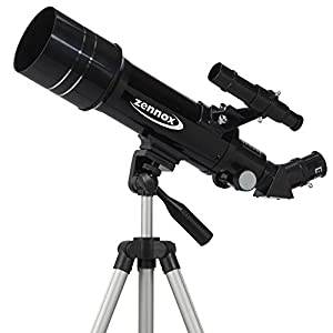 Zennox 70 x 400 Refractor Portable Travel Telescope 400m Focal Length 2x24 Finder Scope with Carry Bag and Tripod