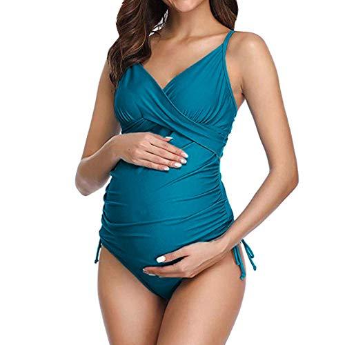 XNBZW Mutterschaft Tankinis Damen Solid Print Bikinis Badeanzug Beachwear Schwangere Anzug Anzug Attraktiver Schwangerschafts Badeanzug im individualen Look/Umstands Badeanzug(XL,Marine)