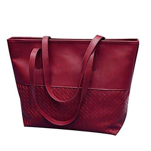 Longra Donne della borsa spalla del Tote Large Messenger Bag Rosso