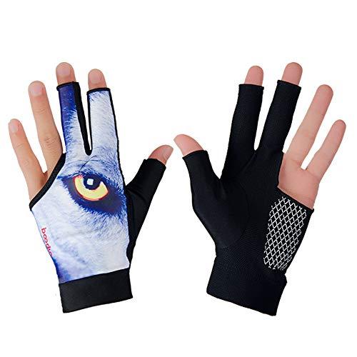Xuanbao Arbeitshandschuhe Sport Snooker Handschuhe Linkshänder Billard Pool Handschuhe 3 Finger Zubehör für Männer, Frauen, Erwachsene Schnittfester Schutz (Farbe : Wolf Eye, Größe : L) -