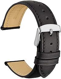 WOCCI 18mm Correa de Reloj de Cuero Vintage con Hebilla Plateada, Banda de Repuesto (Negro)
