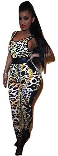 rint Jumpsuit Catsuit Club Wear Party Sommer tragen Größe UK 12EU 40 (Catsuit Leopard)