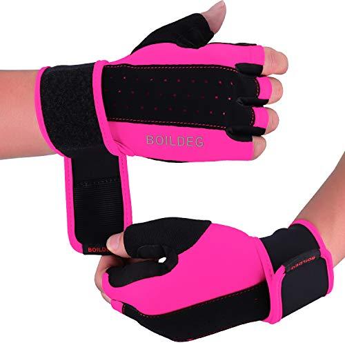 Fitness Handschuhe,Trainingshandschuhe,Gewichtheben Handschuhe für Bodybuilding Crossfit,Damen&Herren (ROSA, L)
