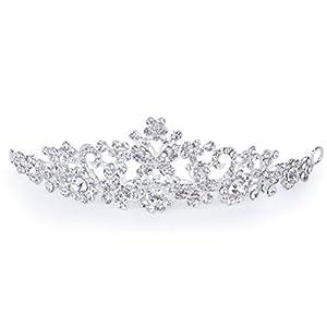 WINOMO Hochzeit Braut Prom Shining Crystal Strass Schmetterling Liebe Blume Krone Stirnband Schleier Diadem (Silber)