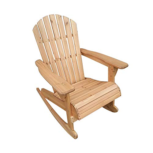 Panana-K Adirondack Bowland Rocking Chair Reclining Armchair Outdoor Garden Furniture Patio Natural
