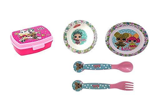 Lol surprise set posate bambini - porta merenda - piatto piano- piatto fondo - set due posate