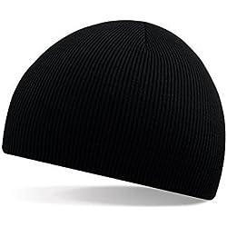 BANCN Gorra de Lana Otoño e Invierno de esquí Corto con Diseño de Rayas Finas, Color Negro