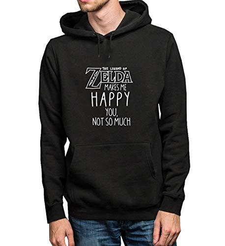 Zelda Makes Me Happy You Not So Much Fan Quote_R6314 Hoodie Kapuzenpullover Jumper Sweater Pullover Sweatshirt Unisex Black Gift- L Black Hoodie (So So Happy Hoodie)